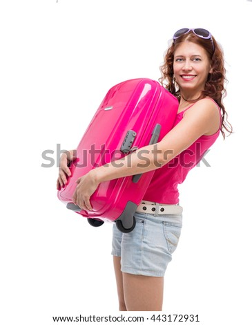 woman with suitcase on white background - stock photo