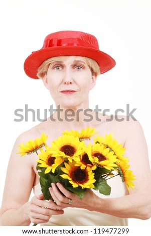 Woman with sunflowers - stock photo