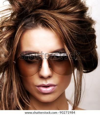 Woman with sunglasses fashion portrait - stock photo