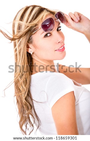Woman with sunglasses - isolated over a white background