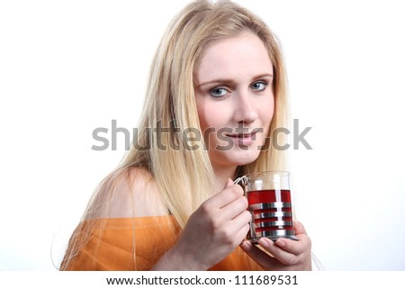Woman with tea glass