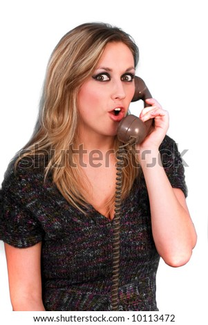 woman with telephone - stock photo