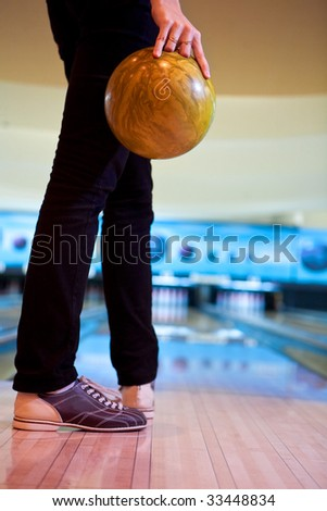 Woman with the bowling ball - stock photo