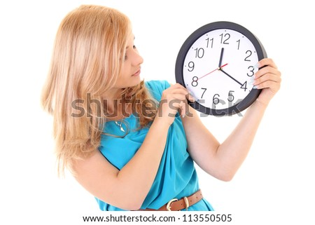 woman with the clock isolated in white