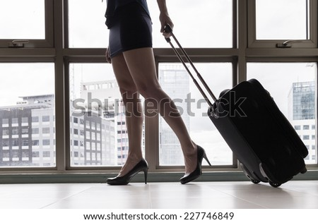 Woman with the suitcase - stock photo