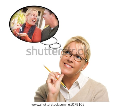 Woman with Thought Bubbles of Herself and Her Husband Getting The Keys to a New Home Isolated on a White Background.