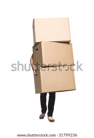 Woman with three boxes
