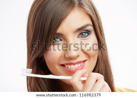 Woman with toothy brush. Isolated on white background. - stock photo