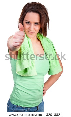Woman with towel would make sport - stock photo