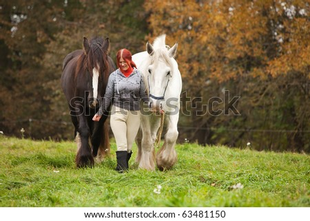 Woman with two big black and white horses in pasture - stock photo