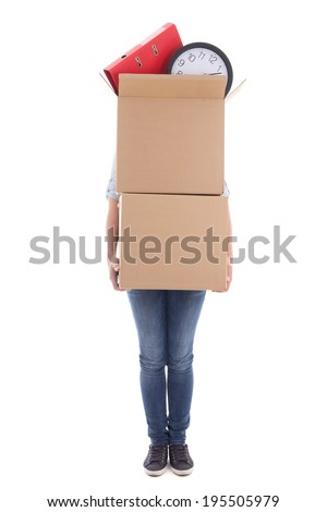 woman with two big cardboard moving boxes isolated on white background - stock photo