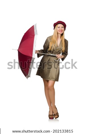 Woman with umbrella isolated on white - stock photo