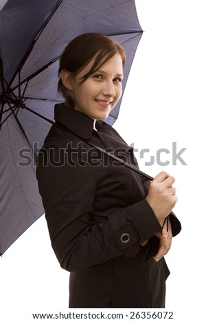 Woman with umbrella on a white background