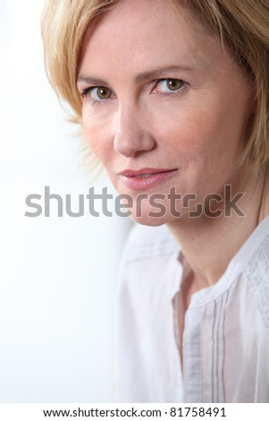 Woman with unhappy expression.