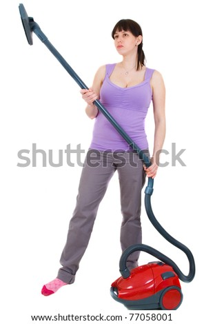 woman with  vacuum cleaner - stock photo