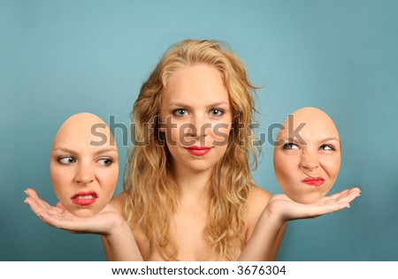 Woman With Various Interchangeable Facial Expressions - stock photo
