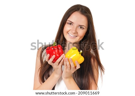 Woman with vegetables - stock photo