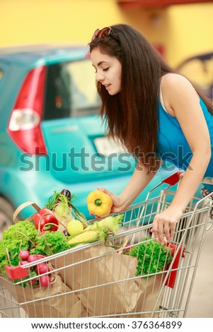 Woman with vegetables in shopping cart at grocery market. Girl after shopping in mall. Female with food in bags at supermarket, health eating food, trendy soft grain filter instagram like, series