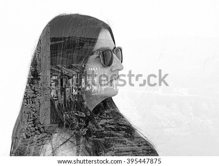 Woman with village. Double exposure taken with camera. - stock photo