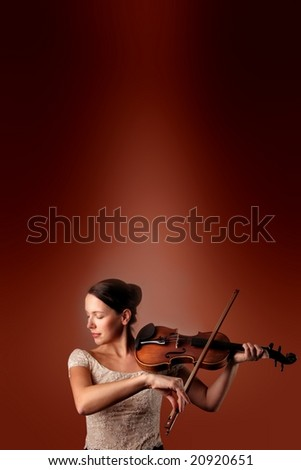 woman with violin - stock photo