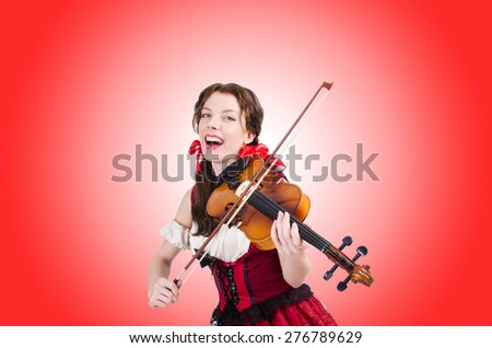 Woman with violin isolated on white - stock photo