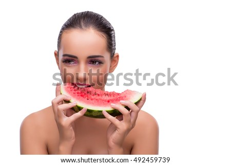 Woman with watermelon slice isolated on white