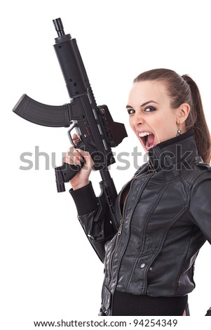 Woman with weapon screaming, isolated on white - stock photo