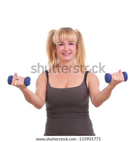 Woman with weight bars
