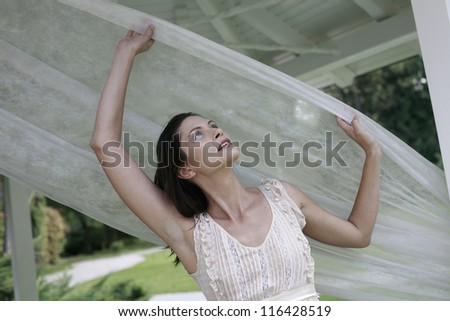 woman with white vail - stock photo