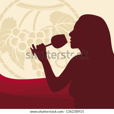 woman with wine glass (wine design, woman holding a glass of wine, woman drinking wine) - stock photo