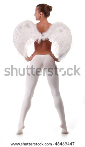 Woman with wings like an angel on heaven - stock photo