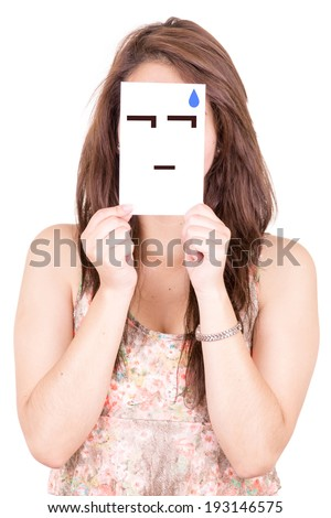 woman with worried emoticon on a paper in her face