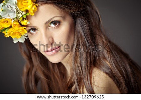 woman with wreath