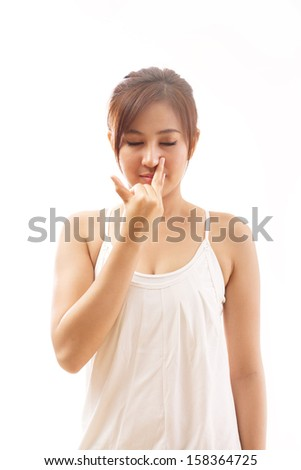 woman with yoga breathing exercise, stress relief - stock photo
