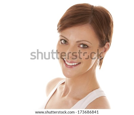 woman witha neck pain wearing white outfit on white background - stock photo