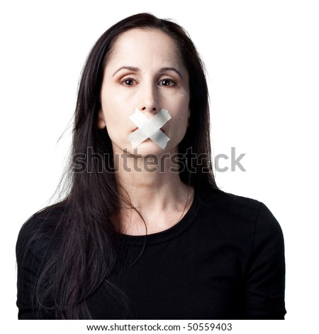 Woman without a voice, silenced, tape over mouth