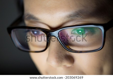 Woman work at night - stock photo