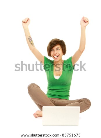 Woman work on laptop - stock photo