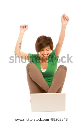 Woman work on laptop ,hand up, isolated on white background - stock photo
