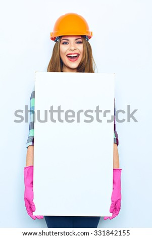 Woman worker builder with 