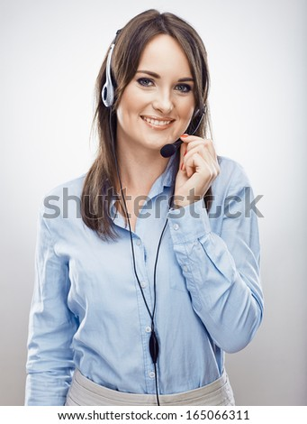 Woman worker call center operator. Business woman. Isolated portrait. - stock photo