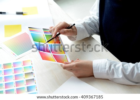 Woman working in design office