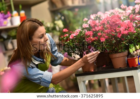 Woman working in flower shop - stock photo