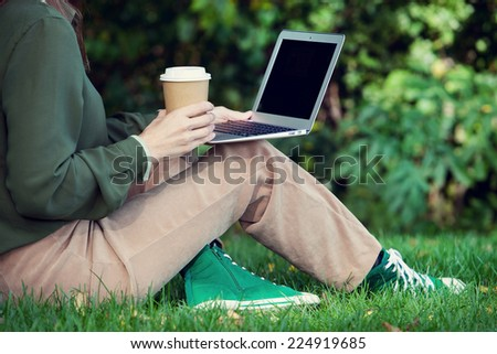 woman working in the park. Self employment - stock photo