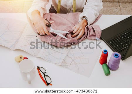woman working in the sewing and fashion