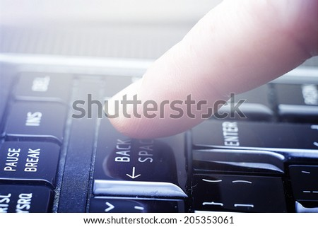 woman working notebook laptop pc - stock photo