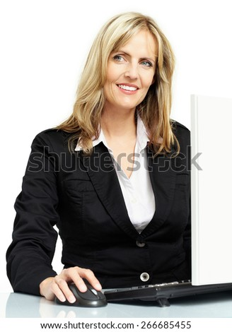 Woman working on computer.