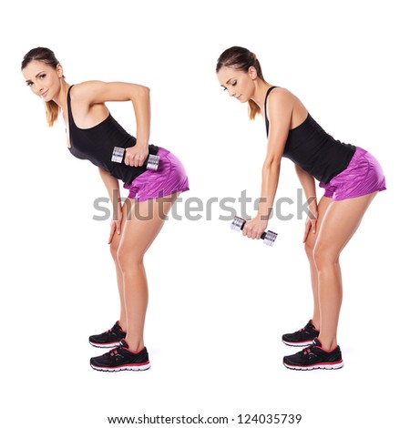 Woman working out with dumbbells shown in two positions bending forwards flexing and extending her arm