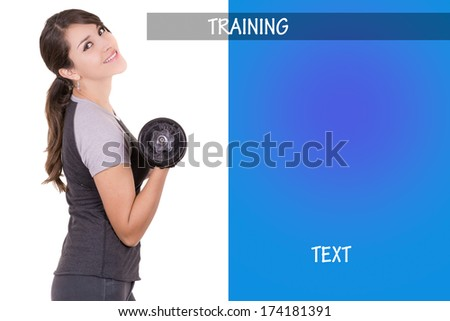 Woman working out with dumbell, with ad design