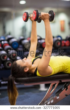 Woman working out with weights at the gym - stock photo